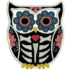 sugar skull owl applique machine embroidery design digitized pattern