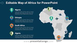 Africa Map Countries by Africa Editable Powerpoint Map Presentationgo Com