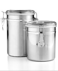 kitchen canisters stainless steel tools of trade 2 pc stainless steel kitchen canister set airtight