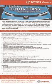 toyota company information fixed asset controller head office wattala job vacancy in sri lanka
