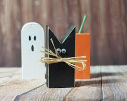 rustic halloween black cat pumpkin decor ghost shelf