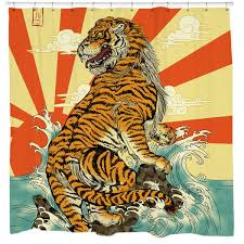 White Tiger Shower Curtain Cool Unique Graphic Shower Curtains 19 99 Sharp Shirter