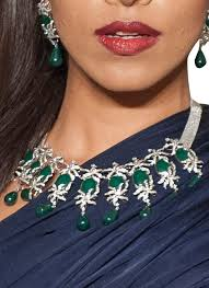 diamond necklace fine jewelry images Diagold pretty diamond necklace set with green stones shop at jpg