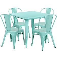green metal outdoor table tbd6005 metal in outdoor round table set with 4 stack chairs 31 5 12