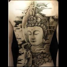 temporary buddhism black tattoos large back