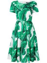 dolce u0026 gabbana palm print cotton dress in green lyst