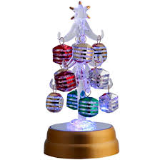 ls arts 6 inch lighted glass tree with 12 silver stripe ornaments