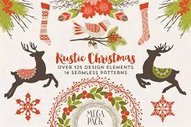 rustic christmas megapack illustrations creative market