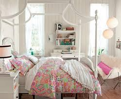 bedroom floral pink bedding with soft white canopy bed frame fit