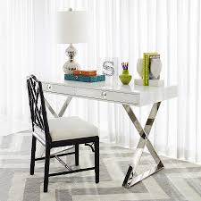 modern white lacquer desk modern channing white office desk and polished nickel x base and