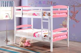 Cosmos White  Pink Single Bunk Beds NZ Lifestyle Imports - Single bunk beds