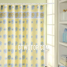 blue floral yellow panel cute shower curtains
