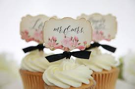 mr mrs wedding table decorations vintage floral wedding cupcake toppers mr mrs love happily