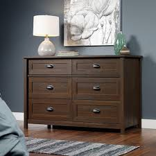 south shore primo 6 drawer brown walnut dresser 10333 the home depot