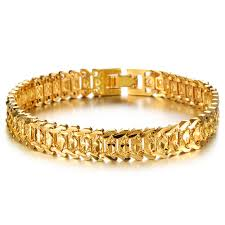 mens gold bracelet links images Classic 18k gold plated bracelets bangles men 39 s link chain jpg