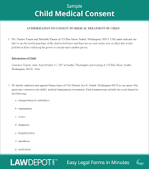 Michigan Medical Power Of Attorney by Child Medical Consent Form Free Medical Authorization Form For
