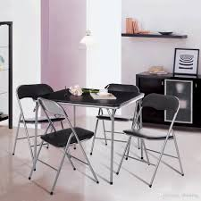 ikayaa metal folding kitchen dining table chair set furniture