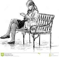 reading on a park bench stock vector image 49374524