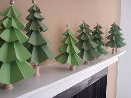 green pine trees made from diy paper craft part of decoration