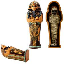 egyptian king tut coffin with mummy box 7 inches