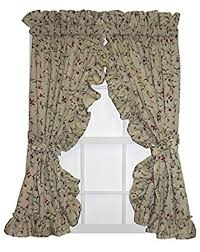 Cherry Kitchen Curtains by Amazon Com Cherry Blossoms Print Ruffle Priscilla Curtains Pair