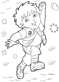 free coloring activity dora the explorer jumping diego