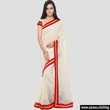color white white pattern banglori lace border cotton silk saree