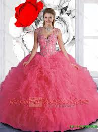 quinceanera dresses with straps new style beaded and ruffles pink quinceanera dresses with straps