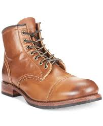 s frye boots sale frye logan cap toe boots in brown for lyst