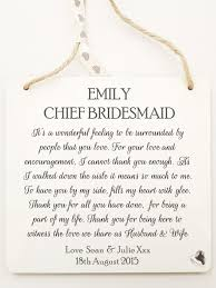 will you be my bridesmaid poem personalised of honour chief bridesmaid plaque wedding thank