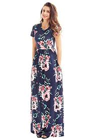casual dress lovezesent women s floral print crew neck sleeve maxi casual