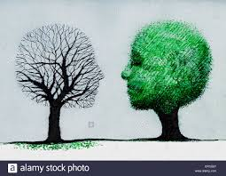 faces forming dead tree and healthy tree stock photo royalty free