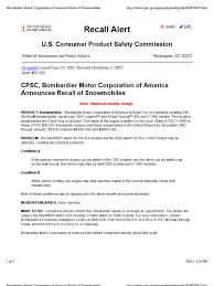 motor corporation cpsc bombardier motor corporation of america announces recall of