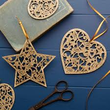 gold glitter wooden heart christmas decoration by the christmas