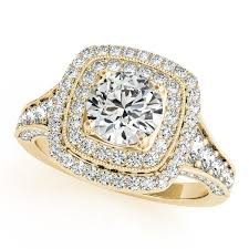 gold square rings images Square double halo diamond engagement ring 14k yellow gold 2ct ng216 jpg
