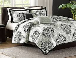 Damask Duvet Cover King Black White Grey Damask Scroll Teen Bedding Twin Xl Full Queen