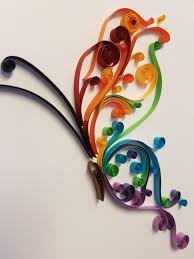 raindow butterfly quilled paper art in frame quilling modern