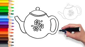learn how to draw teapot teach drawing for kids and toddlers