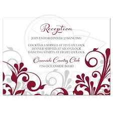 wedding reception cards burgundy gray abstract floral wedding reception card