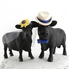 angus cow cake topper for texas ranch or country western wedding