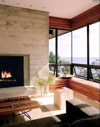 sitzbank wohnzimmer kamin wohnzimmer panoramafenster holz sitzbank hocker sichtbeton