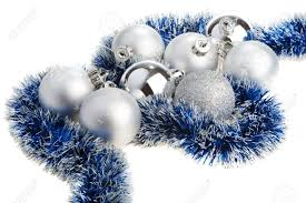 silver and blue christmas decoration stock photo picture and