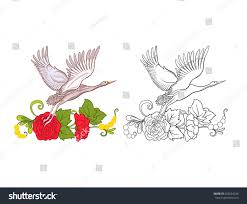 flowers crane set colored sample outline stock vector 652664236