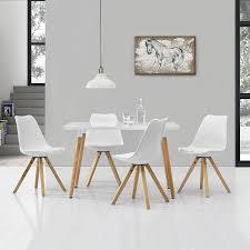 esszimmer weiß en casa esstisch mit 4 stühlen weiß gepolstert 120x80cm