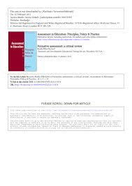 formative assessment a critical review pdf download available