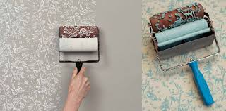 paint rollers for wallpapers and elements of an interior home