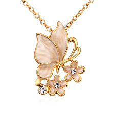 butterfly gold necklace images Women jewelry 18k gold butterfly necklace with rhinestones decor jpg