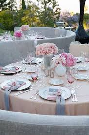 table for two romantic engagement event design pink white and