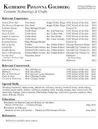 Resume Relevant Coursework Katherine Pavlovna Goldberg Costume Design Tech Resume