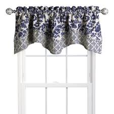 blue damask scalloped window valance christmas tree shops andthat
